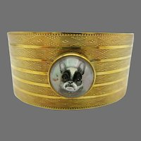 Antique 14k gold and Essex Crystal French Bulldog cuff bracelet