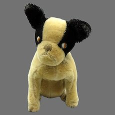 Early 1920's Schuco mohair Yes No french Bulldog toy with googly eyes