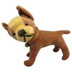 Early velveteen glass eyed French Bulldog toy