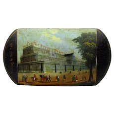 1851 Victorian painted paper mache The Crystal Palace cigar case holder