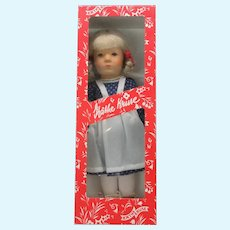 """Vintage 14"""" Kathe Kruse doll in original box blonde hair red bows and shoes"""