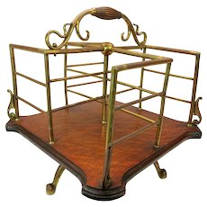 ON HOLD-Antique Art Nouveau table top revolving book rack stand or library book holder