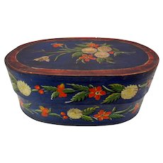 Antique European folk art paint decorated pantry box in blue with flowers
