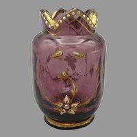 Antique Moser miniature amethyst enameled glass toy vase for doll or doll house
