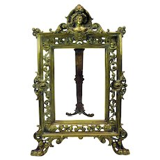 Victorian brass or bronze picture frame with Lady portrait in shell top