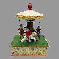 Antique Erzgebirge German Carnival carousel mechanical wood toy for dolls