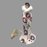 Vintage Art Deco Lady Goebel porcelain perfume lamp wearing a fur collar elaborate coat