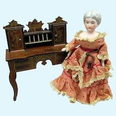 Large scale antique Biedermeier doll house miniature Secretary desk