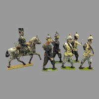 6 Antique early painted tin toy soldier figures