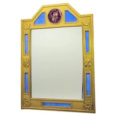 Big antique gilded bronze and enamel picture frame mirror with scenic enamel plaque