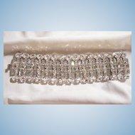 Fantastic Bold Wide Bright sparkling all rhinestone Link Bracelet Weiss co 1947
