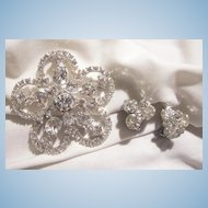Outstanding Art Deco style Large all Rhinestone Brooch and Earrings circa 40's