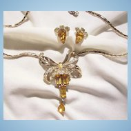 Spectacular Art deco Topaz bagget Rhinestone Coro Necklace and Earrings Circa 40's