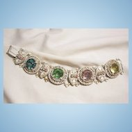 Outstanding Rare Bold large rhinestone Fleur de lies white gold color antiqued enamel Book link Bracelet