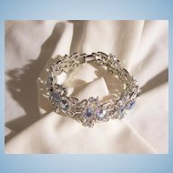 Gorgeous glitzy Peacock Rhinestone Link Bracelet Sterling Clasp Excellent Condition