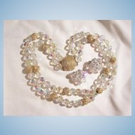 Stunning substantial two strand glass crystal cut and Gold tone beaded Necklace with Earrings.