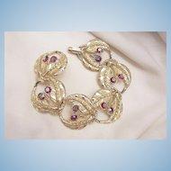 Bold Magnificent Fire Red Aurora Borealis Rhinestone Link Bracelet Near Mint condition