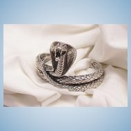 Outstanding Striking Cobra Art deco style silver Plated Bangle Bracelet Excellent Condition
