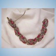 Sensational sparkling 1950 Hollycraft Pink Red Rhinestone Link Bracelet. In very good condition