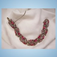 Sensational sparkling 1950 Hollycraft Pink Red Rhinestone Link Bracelet. In very good condition