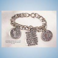 Rare Beautiful signed Whiting Davis Asian theme Charm Bracelet marked Germany on Clasp