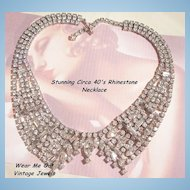 Sensational Wide Collar Rhinestone Necklace Bright Emerald cut Baguette's Marquis Rounds Circa 40's