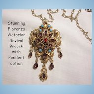 Stunning  Florenza Victorian Revival Purple Rhinestone simulated seed pearl Turquoise Cab Brooch with Pendant option and Link Chain