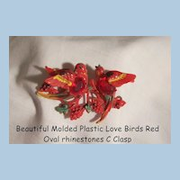 Fantastic rare Molded painted Plastic with red rhinestones Singing Love birds Brooch C Clasp