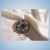 Stunning Louis Mark Barclay Aqua Amethyst color Rhinestone Brooch Excellent condition circa 40's