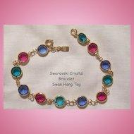 Beautiful Swarovski Colorful Crystal Bracelet Swan hang tag