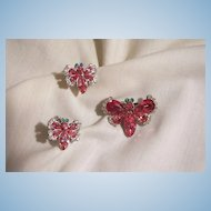 Stunning Vintage Pink Aqua and clear Rhinestone Butterfly Brooch and Earring Set