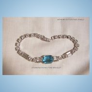 Beautiful circa 40's Art Deco style Aqua and clears Rhinestone Link Bracelet