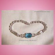 Beautiful circa 40's Art Deco style Aqua and clears Rhinestone Link Bracelet