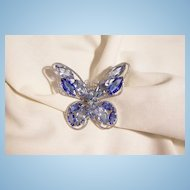 Stunning Jour Light topaz blue and sapphire color Rhinestone Butterfly Brooch