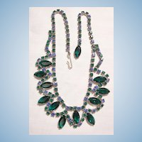 Fabulous open back glass bevel Emerald green and Blue topaz color Rhinestone Necklace