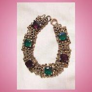 Vintage beautiful Jour Emerald cut Czech stone purple and green glass rhinestone butterfly Link Bracelet