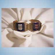 Fabulous France Copper enamel shields Cats Tourist Bracelet
