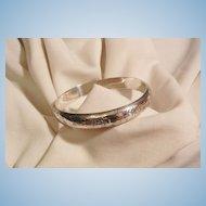 Sensational Vintage Etched Sterling side open Bangle Bracelet 15 grams
