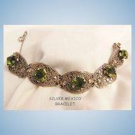 Gorgeous Silver Mexico Olivine color glass Jour stone panel Bracelet