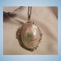 Fantastic shell painted Royal portrait Cameo Necklace Rare Whiting Davis