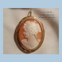 Beautiful cameo woman portrait 1/20 12k GF Brooch with Pendant bale option