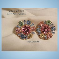 Gorgeous Hollycraft Pastel rhinestone Clip Earrings