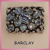 Beautiful Barclay Blue topaz color rhinestone Brooch