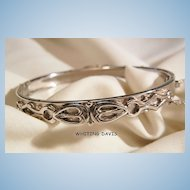 Whiting Davis Co Beautiful Silver tone side open Bangle Bracelet