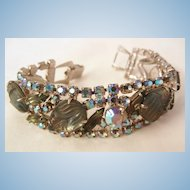 Show stopper Bold Givre frosted Glass peacock rhinestone Scroll clasp Vintage Bracelet