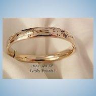 Gorgeous Hobe 12K GF Etched bangle Bracelet