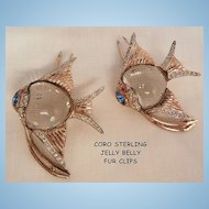 Fantastic A Katz Coro Sterling Lucite with rhinestones Jelly Belly Fish Fur Clips
