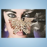 Outstanding Bold Clear rhinestone Butterfly Brooch Stamped