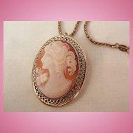 Beau Sterling beautiful portrait Cameo brooch Necklace 12K GF