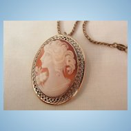 Beau Sterling beautiful portrait Cameo brooch Necklace 12K GF